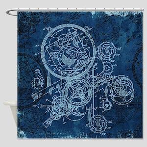 Clockwork Collage Blue Shower Curtain