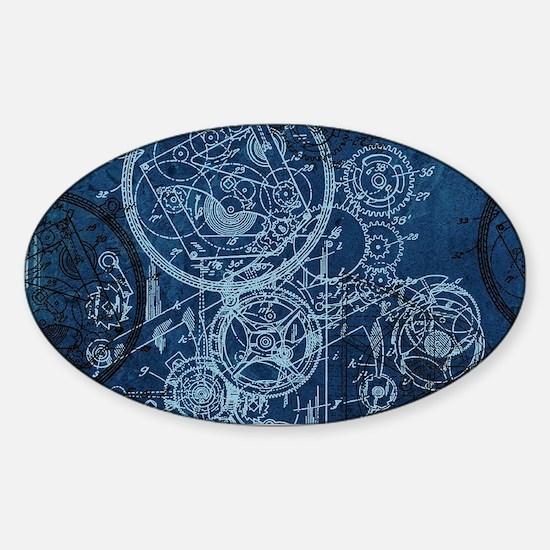 Clockwork Collage Blue Sticker (Oval)