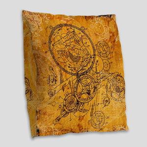Clockwork Collage Burlap Throw Pillow