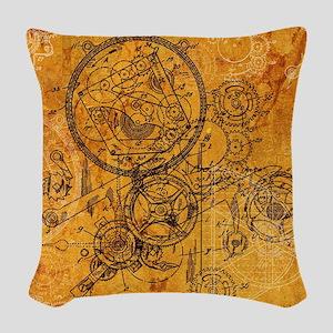 Clockwork Collage Woven Throw Pillow