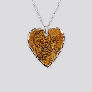 Clockwork Collage Necklace Heart Charm