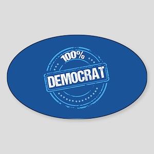 100% Democrat Sticker (Oval)