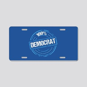 100% Democrat Aluminum License Plate
