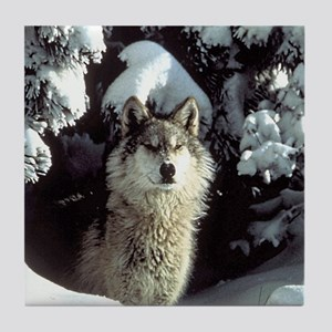 Winter Wolf Tile Coaster