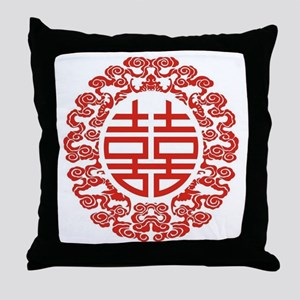 red double happiness  Throw Pillow