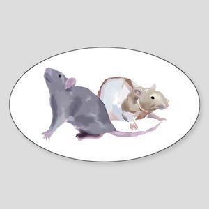 Rat Duo Oval Sticker