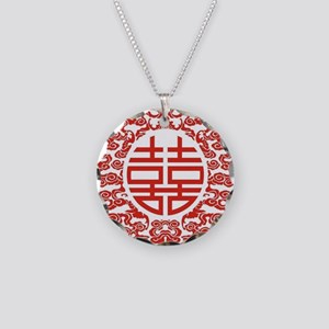 red double happiness Necklace Circle Charm