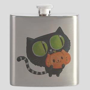 Cute Black Cat with pumpkin Flask