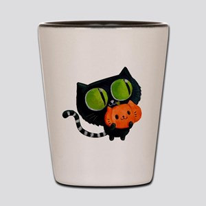 Cute Black Cat with pumpkin Shot Glass