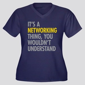 Its A Networ Women's Plus Size V-Neck Dark T-Shirt