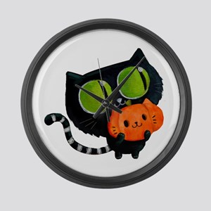 Cute Black Cat with pumpkin Large Wall Clock
