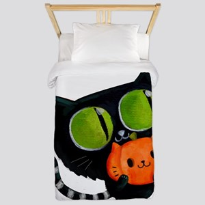 Cute Black Cat with pumpkin Twin Duvet