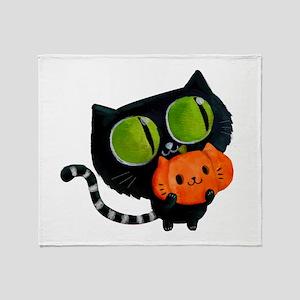 Cute Black Cat with pumpkin Throw Blanket