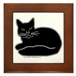 Black Kitty Framed Tile