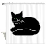Black Kitty Shower Curtain