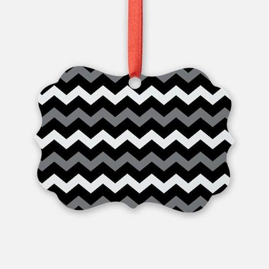 Black Gray And White Chevron Ornament