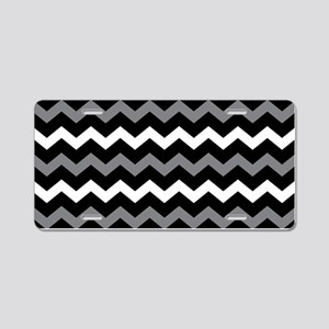 Black Gray And White Chevron Aluminum License Plat