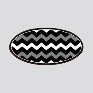 Black Gray And White Chevron Patches