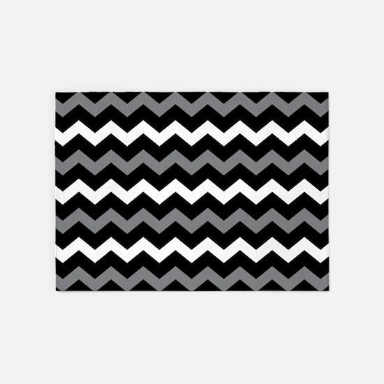 Black Gray And White Chevron 5'x7'Area Rug