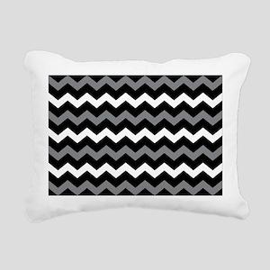 Black Gray And White Chevron Rectangular Canvas Pi