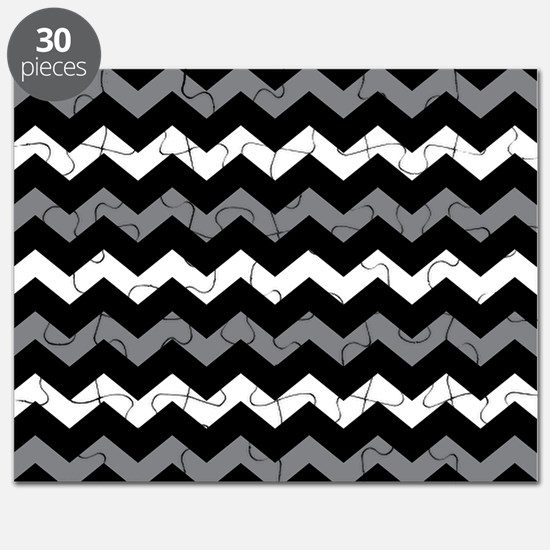 Black Gray And White Chevron Puzzle