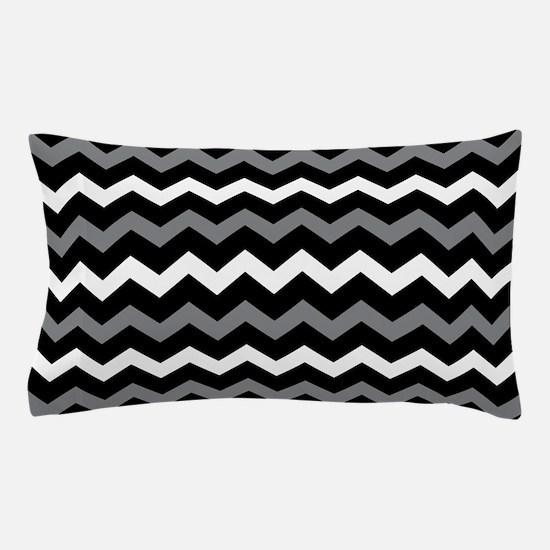 Black Gray And White Chevron Pillow Case