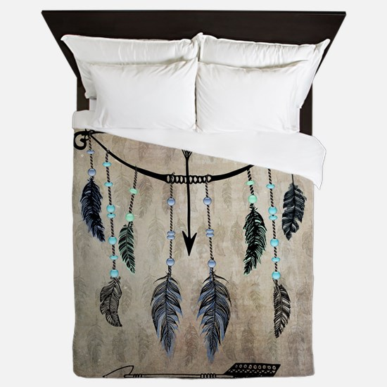 Bow, Arrow, And Feathers Queen Duvet