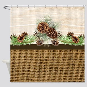 Burlap and wood pinecones Shower Curtain
