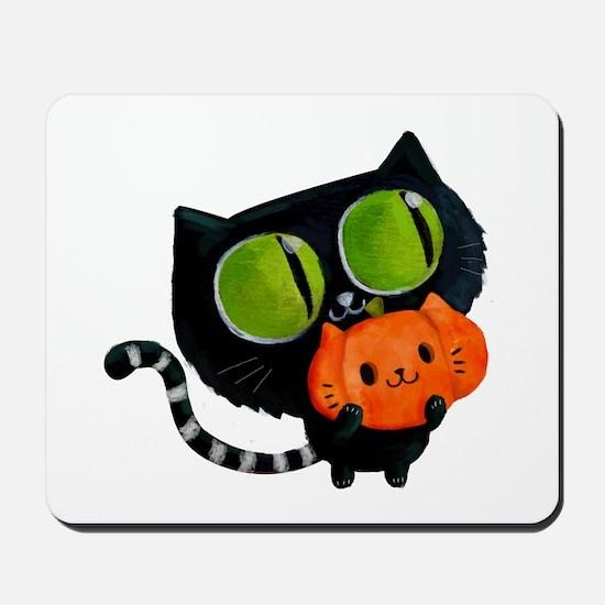 Cute Black Cat with pumpkin Mousepad
