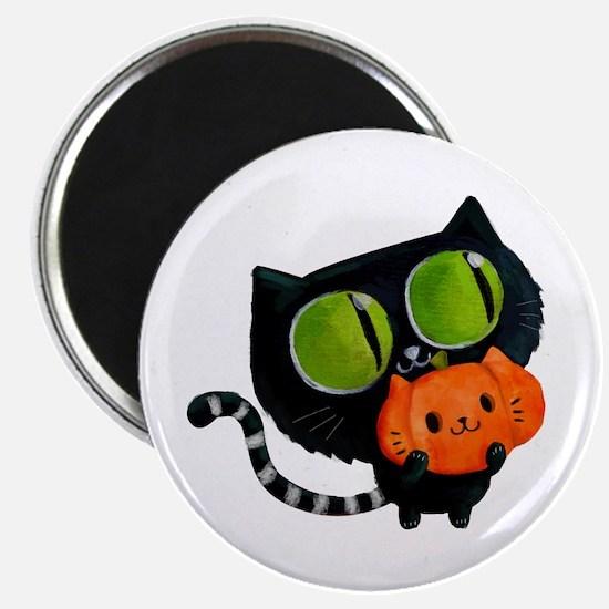 Cute Black Cat with pumpkin Magnets