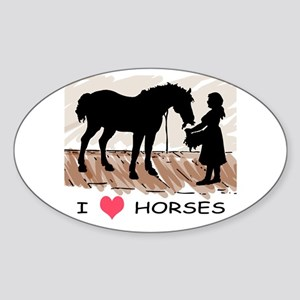 I Love Horses & Girl w/ Color Oval Sticker