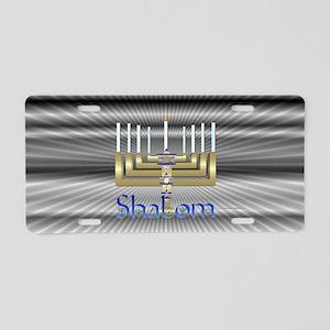 Shalom Menorah Aluminum License Plate