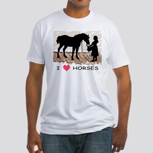 I Love Horses & Girl w/ Color Fitted T-Shirt