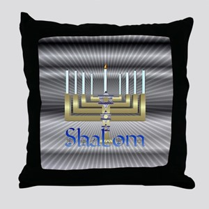 Shalom Menorah Throw Pillow