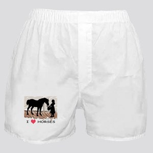 I Love Horses & Girl w/ Color Boxer Shorts