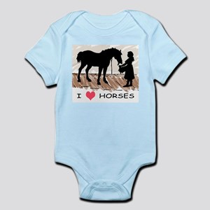 I Love Horses & Girl w/ Color Infant Bodysuit