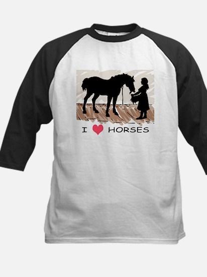 I Love Horses & Girl w/ Color Kids Baseball Jersey