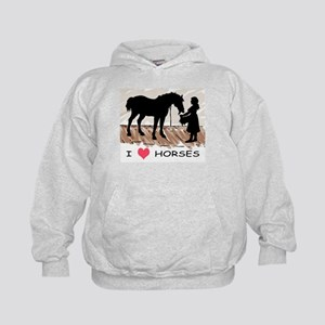 I Love Horses & Girl w/ Color Kids Hoodie