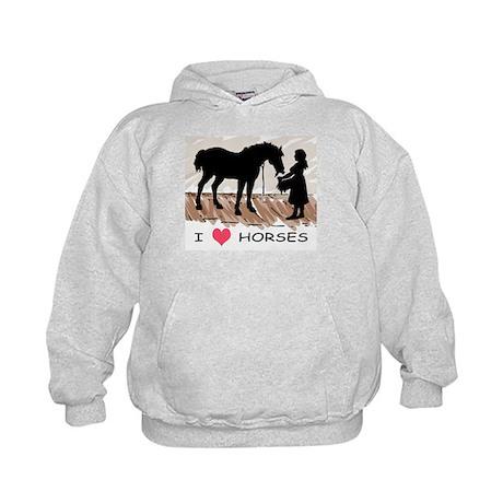 I Love Horses & Girl w/ Color Kids Hoodie