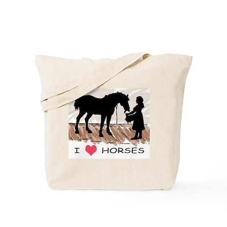 I Love Horses & Girl w/ Color Tote Bag
