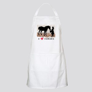 I Love Horses & Girl w/ Color BBQ Apron