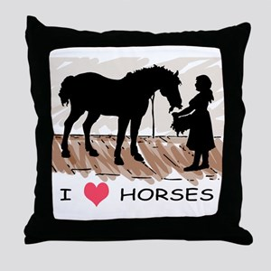 I Love Horses & Girl w/ Color Throw Pillow