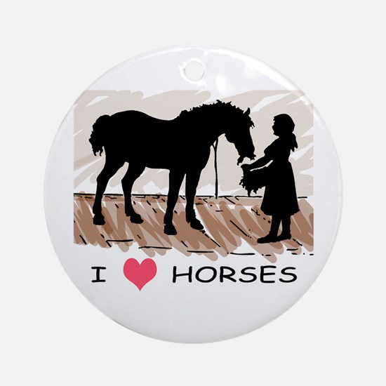 I Love Horses & Girl w/ Color Ornament (Round)