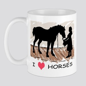 I Love Horses & Girl w/ Color Mug