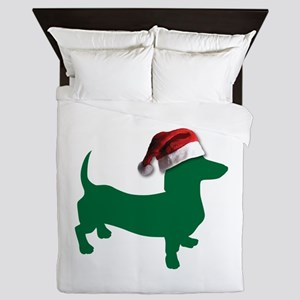 Christmas Green Dachshund Queen Duvet