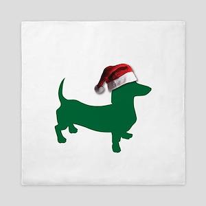 Christmas Green Dachshund Queen Duvet