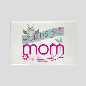 World's Best Mom - Owl Rectangle Magnet