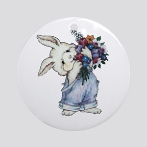 Bunny with Flowers Ornament (Round)