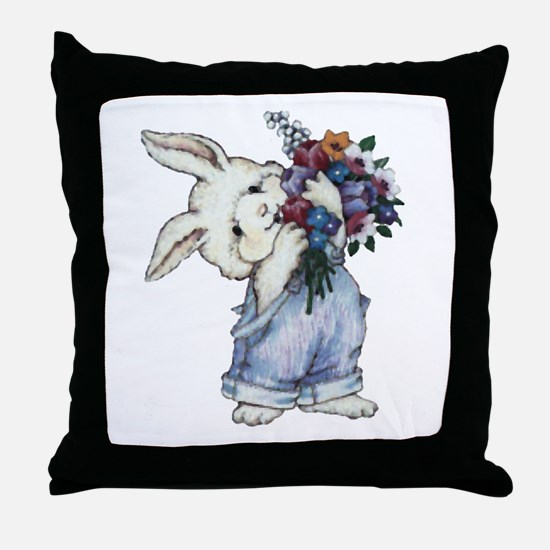 Bunny with Flowers Throw Pillow