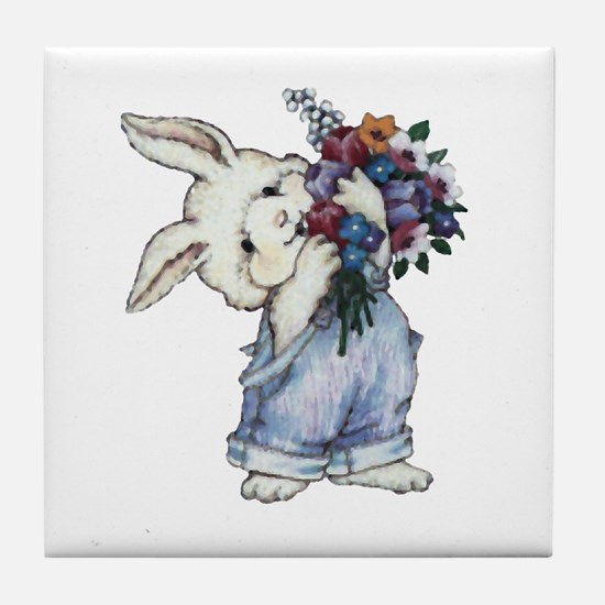 Bunny with Flowers Tile Coaster